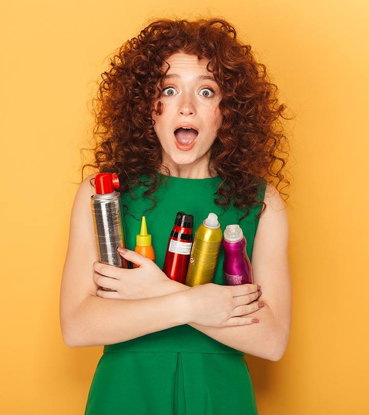 девушка со средствами для укладки волос