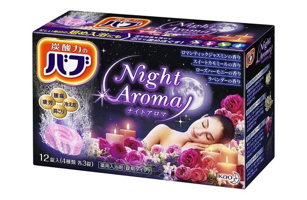 Газированные таблетки (соль для ванн) KAO BUB ночной аромат