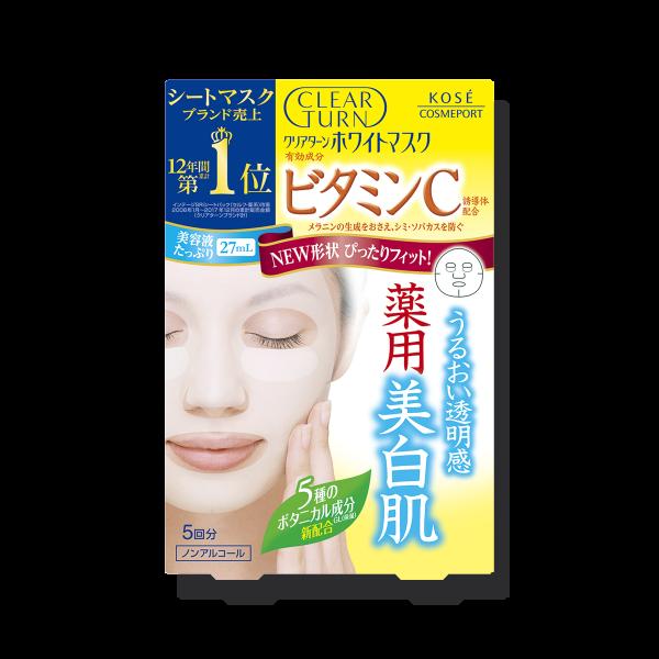 Осветляющая увлажняющая маска с витамином С и растительными экстрактами Kose Clear Turn White Mask Vitamin C