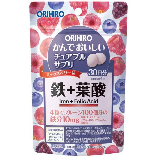 Жевательные витамины с железом и фолиевой кислотой Orihiro Iron + Folic Acid со вкусом ягод