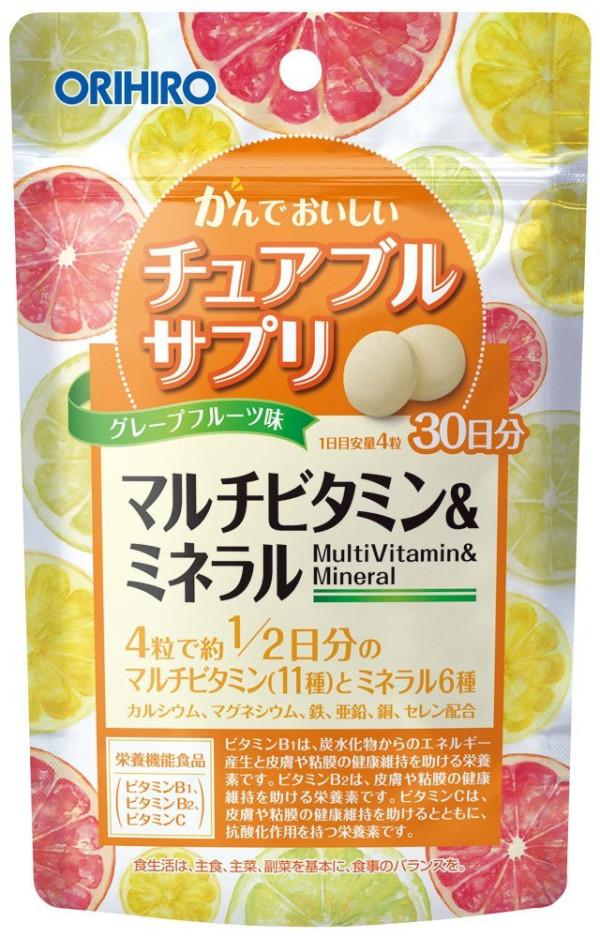 Жевательные мультивитамны + минералы со вкусом грейпфрута Orihiro