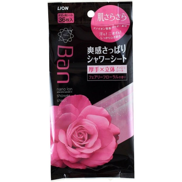 Дезодорирующие влажные салфетки Ban Lion skin smooth liquid in shower sheet & PINK elegant rose scent