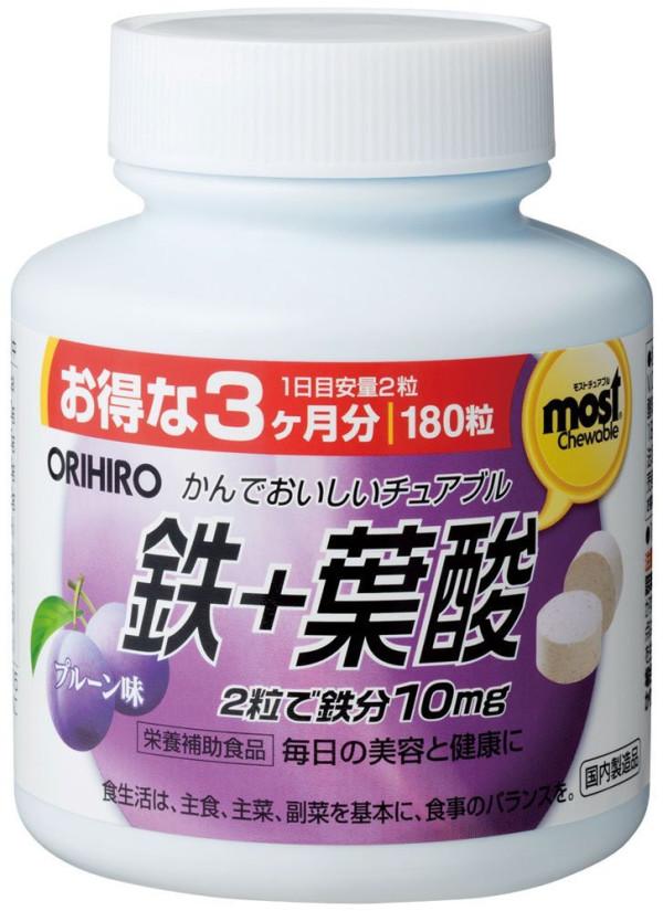 Жевательные таблетки с железом и сливовым вкусом Orihiro
