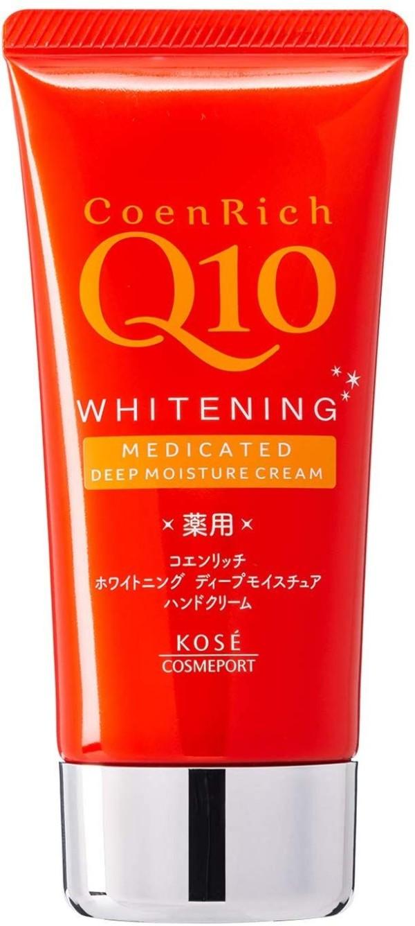 Лекарственный отбеливающий и увлажняющий крем для рук с коэнзимом Q10 CoenRich Q10 Kose Cosmeport для сухой кожи (глубокое увлажнение)