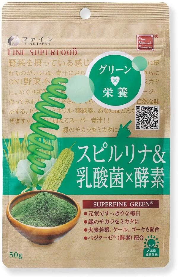 Быстрорастворимый напиток со спирулиной, молочнокислыми бактериями и ферментами FINE JAPAN Spirulina & Lactic Acid Bacteria × Enzyme