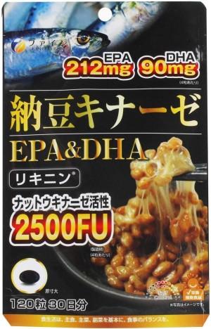Комплекс с наттокиназой и Омега-3 жирными кислотами FINE JAPAN Natto Kinase + EPA & DHA