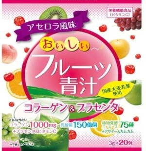 Фруктовый аодзиру с коллагеном и плацентой Yuwa Fruit Aojiru Collagen & Placenta