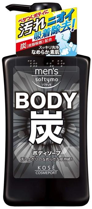 Мужской гель для душа с древесным углем Kose Men's Softymo Body
