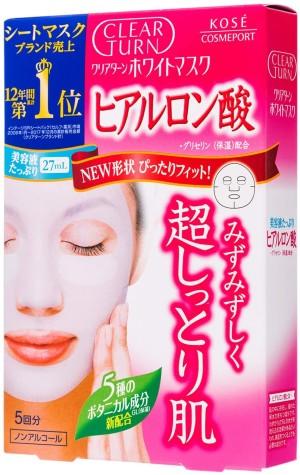 Осветляющая увлажняющая маска с гиалуроновой кислотой и экстрактом бузины Kose Clear Turn White Hyaluronic Acid Mask