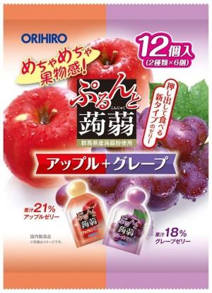 Желе из конняку со вкусом яблока и винограда Orihiro Plan Du Puru & Jelly Pouch Apple + Grape