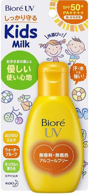 Детское солнцезащитное молочко KAO Biore UV Kids Milk SPF 50+/PA++++