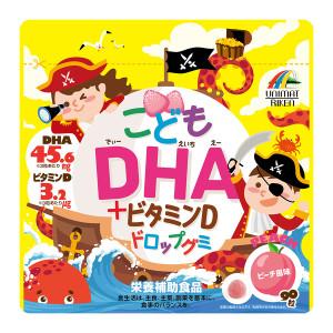 Жевательные витамины с DHA и витамином D со вкусом персика Unimat Riken Child DHA + Vitamin D Drop Gummy
