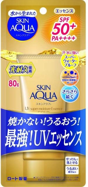 Супер-увлажняющая солнцезащитная эссенция Rohto SKIN AQUA Super Moisture Essence Gold Sunscreen SPF 50+ PA++++