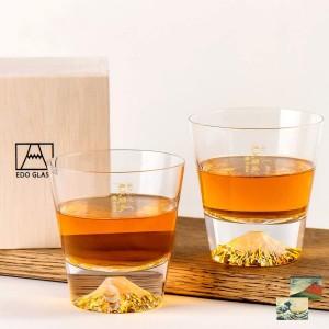 Пара бокалов ручной работы Tajimaglass Mt. Fuji Glass Rock Whiskey