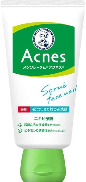 Лечебный крем-скраб против акне Rohto Mentholatum Acnes Medicinal Pore Cleansing Scrub Face Wash