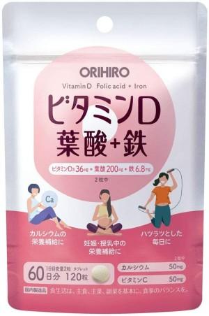 Витаминный комплекс для женщин Orihiro Vitamin D +Folic Acid + Iron