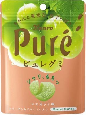 Жевательные конфеты с коллагеном со вкусом белого винограда Kanro Fruit Juice Gummy Collagen Muscat