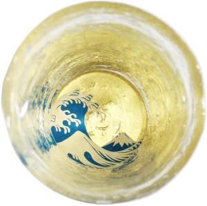 Стеклянная чаша для саке ручной работы с росписью Kasyou Studio Huasho Maki-e Glass Cup The Great Wave Off Kanagawa
