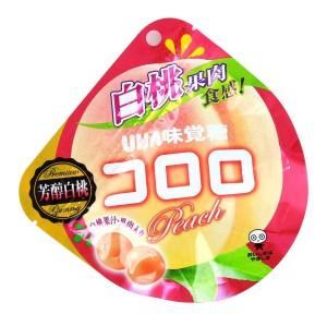 Жевательные конфеты с коллагеном и персиковым соком UHA white peach