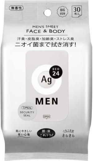 Дезодорирующие салфетки для мужчин Shiseido Men Sheet Face & Body AG 24