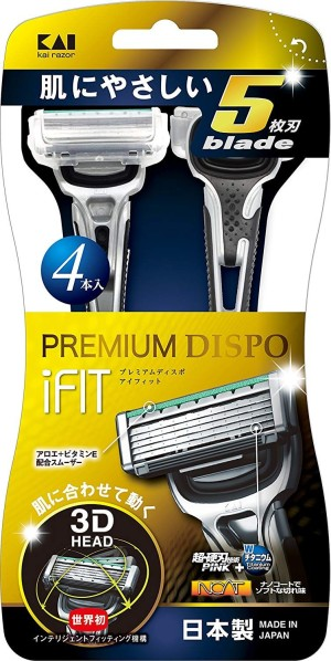 Одноразовая бритва для мужчин с плавающей 3D головкой и 5 лезвиями KAI PREMIUM DISPO iFIT 4
