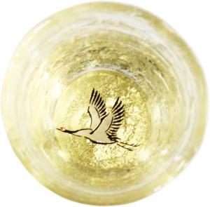 Стеклянная чаша для саке ручной работы с росписью Kasyou Studio Huasho Maki-e Glass Cup Crane