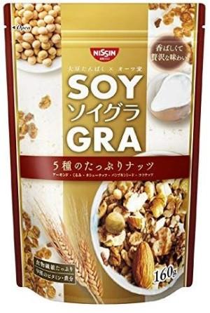 Гранола с соевым белком и орехами Nissin Cisco SOYGRA 5 Types Plenty Of Nuts
