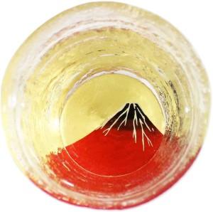 Стеклянная чаша для саке ручной работы с росписью Kasyou Studio Huasho Maki-e Glass Cup Red Fuji