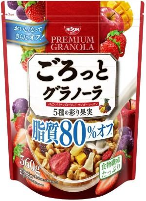 Фруктовая гранола со сниженным содержанием жиров Nissin Cisco Gourmet Granola 5 Kinds Of Colorful Fruits 80% Off Lipids