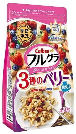 Гранола с ягодами и миндалем Calbee Frugra Granola 3 Berry Condensed Milk Flavor