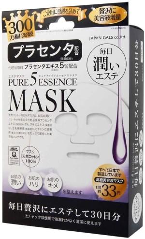 Омолаживающая маска для лица с плацентой Japan Gals Pure Five Essence Mask PL