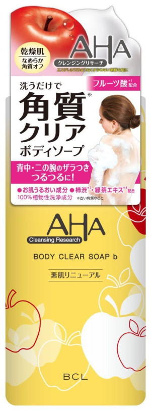 Гель-пилинг для душа AHA Cleansing Research Body Clear Soap BCL с ароматом яблок